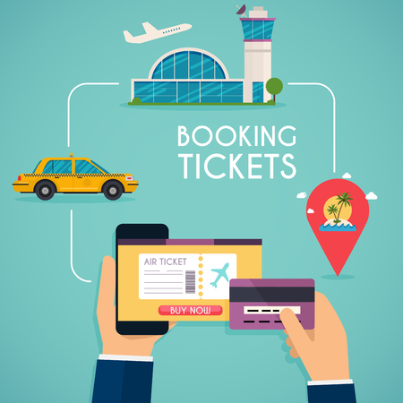 credit card business woman: Online booking ticked. Buy Ticket Online. Traveling on airplane, planning a summer vacation, tourism and journey objects and passenger luggage. Illustration