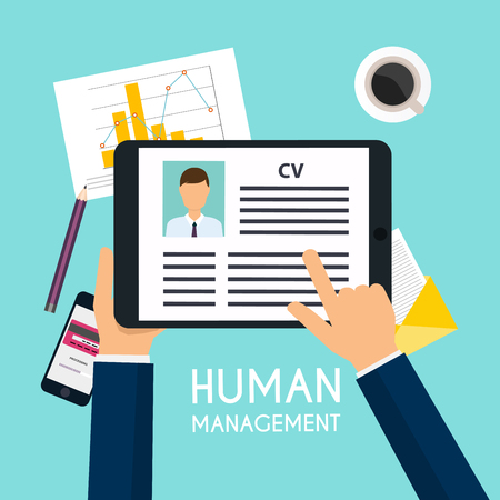 hand writing: Hand holding a digital tablet with CV resume. Job interview concept. Writing a resume.