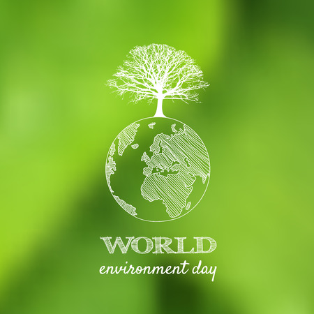 World environment day vector card, poster on blur green background. Vector illustration. Stock Illustratie
