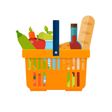 basketful: Shopping basket with foods. Healthy organic fresh and natural food. Grocery delivery concept. Flat vector icon.