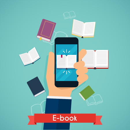 magazine stack: Hand holding mobile smart phone with book icon displayed. Digital book reading. Online reading. Flat design modern illustration concept.