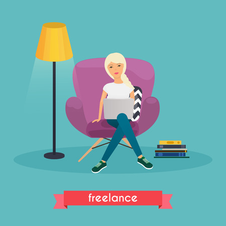 self employed: Girls working at home. Young woman sitting on a chair and using laptop at home. Freelance, work from home, self employed, home office, work at home, freedom, in living room. Work at home concept.