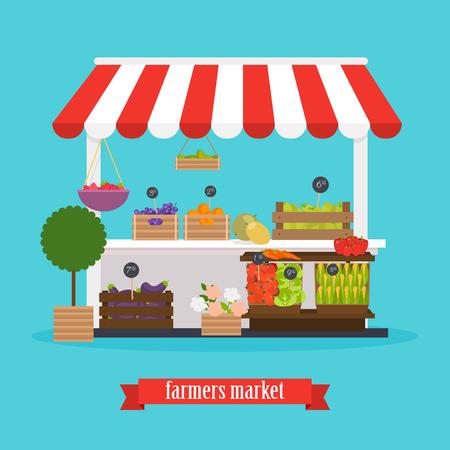 Boerenmarkt. Lokale markt groenten en fruit. Platte ontwerp moderne illustratie concept. Vector Illustratie