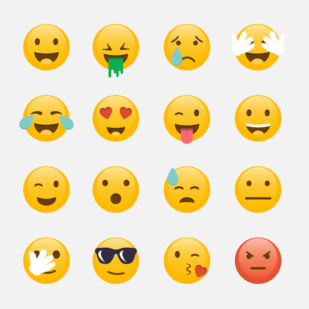 kisses: Set of Emoticons. Emoji flat design, avatar design. Illustration