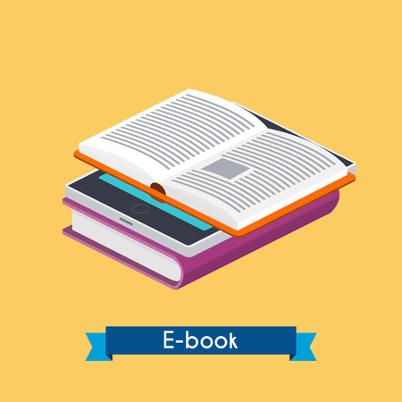 ebook reader: Flat 3d isometric e-book reader and books. Online reading. E-learning concept. Flat design modern illustration concept.