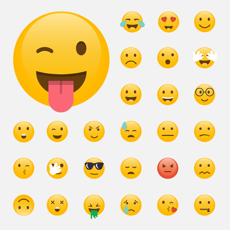 Set van Emoticons. Emoji plat ontwerp, avatar design.