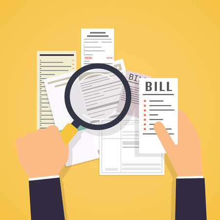 medical bills: Paying bills. Hands holding bills and magnifying glass. Payment of utility, bank, restaurant and other bills. Illustration