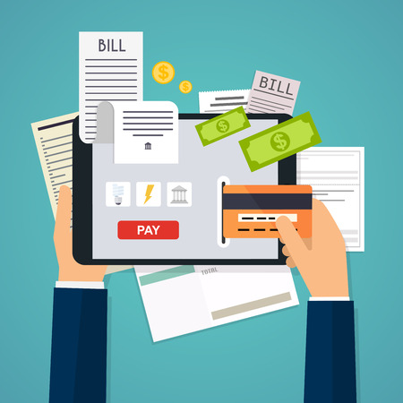 bill payment: Mobile payment concept. Phone laying down on bill heap. Flat design modern vector illustration concept.