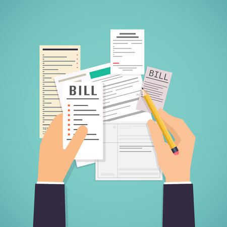 Paying bills. Hands holding bills and pencil. Payment of utility, bank, restaurant and other bills. Flat design modern illustration concept.