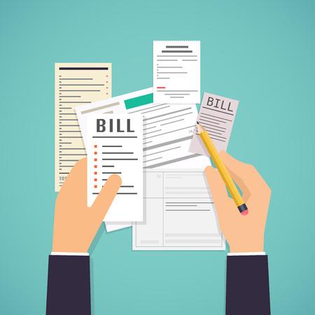 Płacić rachunki. Ręce trzyma rachunki i ołówek. Płatność użyteczności, banku, restauracji i innych rachunków. Płaska konstrukcja nowoczesnych koncepcji ilustracji. Ilustracje wektorowe