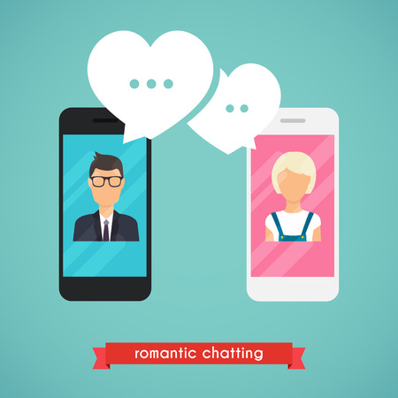 woman cell phone: Online chat man and woman. Online dating graphic concept. Couple chat on a cell phone. Cartoon man and woman.