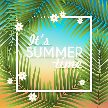 Its Summer time wallpaper typographical background with tropical plants. Summer poster, summer fun, summer party. Illustration