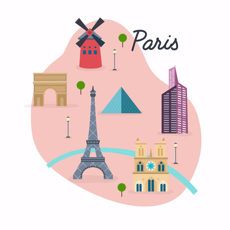 travel map: Paris. Travel map and vector landscape of buildings and famous landmarks. Vector illustration. Illustration