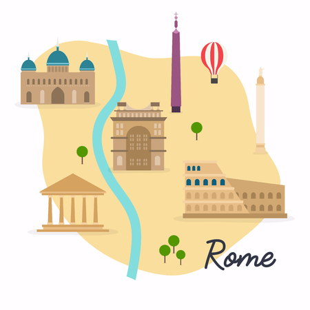 colloseum: Rome. Travel map and vector landscape of buildings and famous landmarks. Vector illustration.