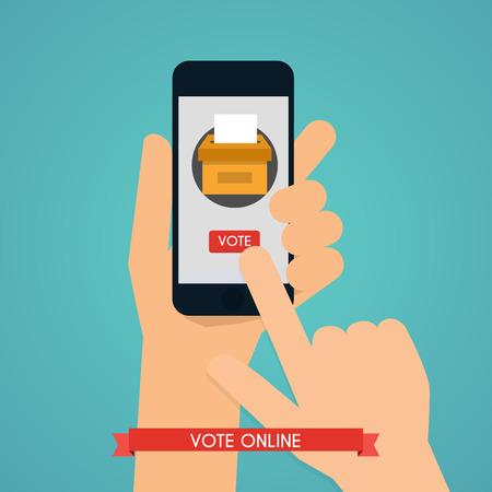 encuestando: Mano que sostiene teléfono inteligente con la aplicación de votación en la pantalla. Sistemas de comunicación y tecnologías.