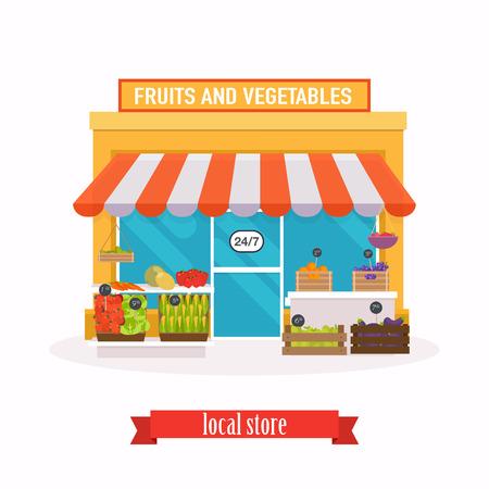 mart: Local market Fruit and vegetables. Farmers market. Flat design modern vector illustration concept.
