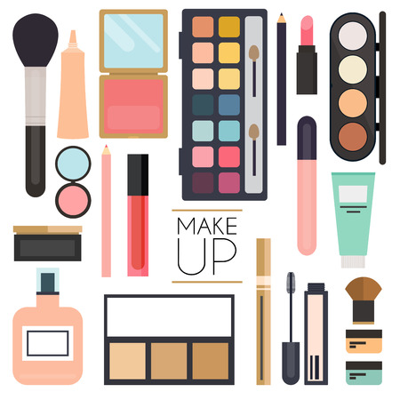 skin color: Makeup cosmetics and brushes on white background.Lipstick, brushes, eyeshadow, heart.Unusual creative makeup set. Beauty flat lay concept in colors. Illustration