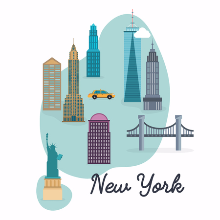 New York City. Travel map and vector landscape of buildings and famous landmarks. Vector illustration.