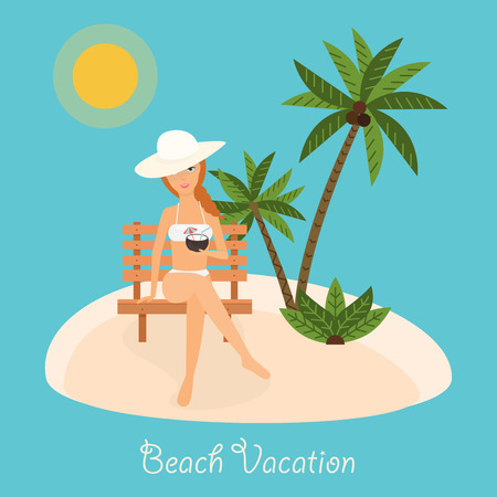 beach babe: Woman sits on deckchair with cocktail in hand. Vector illustration on summer vacation beach resort.