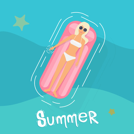 woman floating: Woman in swim suit lying on floating swimming pool mattress. Summer time. Woman in bikini enjoying summer sun and tanning during holidays in pool.