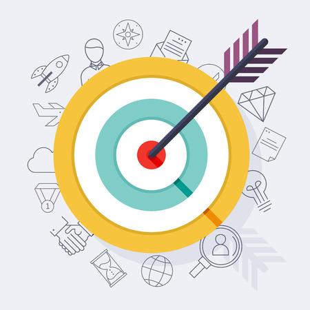 Target bullseye or arrow on target flat icon. Flat design modern vector illustration concept.