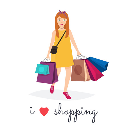 shopping fashion: Woman shopping and holding bags. I love shopping. Fashion Shopping. Shopper. Sales.