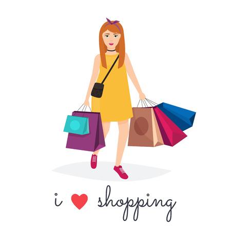 retailing: Woman shopping and holding bags. I love shopping. Fashion Shopping. Shopper. Sales.