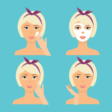 woman hygiene protection: Girl Cleaning And Care Her Face With Various Actions Set. The result of using face skin care cosmetic product (cream, mask). Skincare vector icons. Illustration