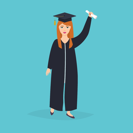 tossing: Graduate girl in the mantle keeps in hands graduation diploma. University students graduation. Flat design modern vector illustration concept.