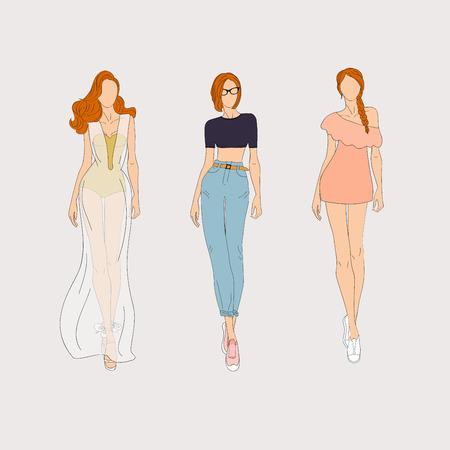blonde females: Hand drawn fashion models. Vector illustration.