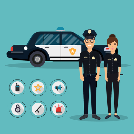 police equipment: Officer characters with police car vehicle in flat design. Policeman and policewoman. Security elements of the police equipment symbols vector icons.
