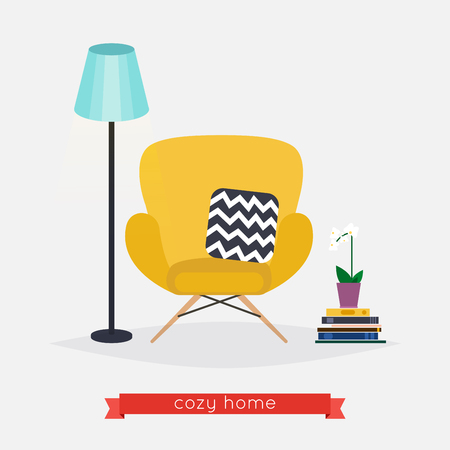 floor plant: Comfortable home armchair and floor lamp, books and plant. Living room. Modern interior of room with armchair. Flat design modern vector illustration concept. Illustration