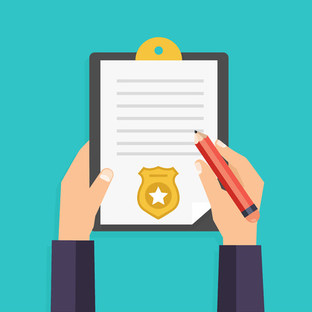 restraints: Hand holding clipboard with checklist and pen for police report. Traffic, parking fine, citation, crime report, problems with police, subpoena concepts. Vector illustration.