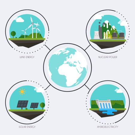 electricidad industrial: Conjunto de iconos con diferentes tipos de generación de electricidad. Paisaje y edificios de la fábrica industrial concepto. infografía plana vector.