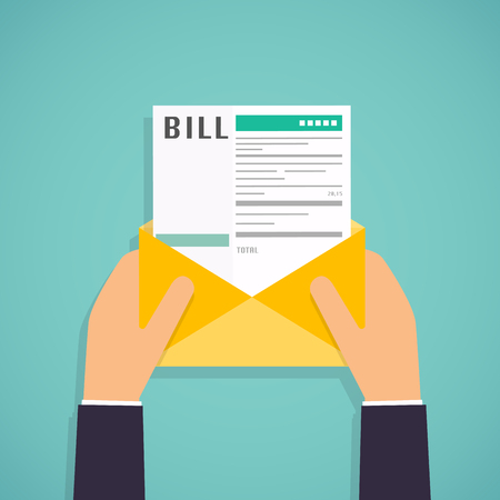 Hände halten Mail mit Rechnungen zahlen. Zahlung von Versorgungs, Bank, Restaurant und andere. Flaches Design moderne Vektor-Illustration Konzept.