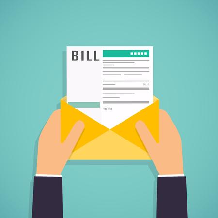 Handen die mail met betalen van rekeningen. Betaling van het nut, bank, restaurant en andere. Platte ontwerp moderne vector illustratie concept. Stock Illustratie