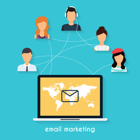 email icons: Running campaign, email advertising, direct digital marketing. Set of social media icons. Flat design style modern vector illustration concept. Illustration