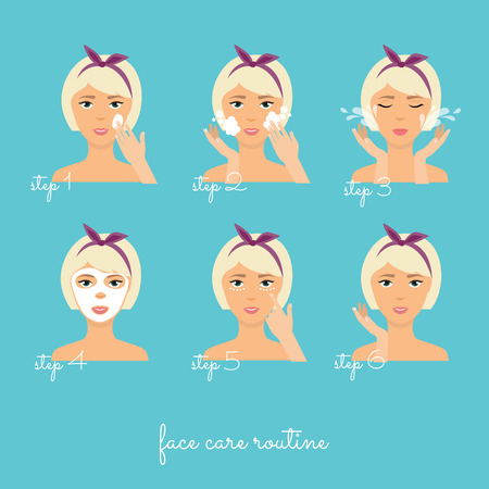 woman hygiene protection: Face care routine. Girl Cleaning And Care Her Face With Various Actions Set.  Skincare vector.