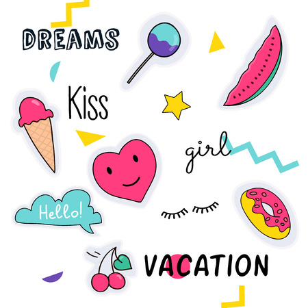 Stickers and handwritten notes collection. Fashion patch badges with ice-cream, hearts, speech bubbles, stars and other elements. Illustration