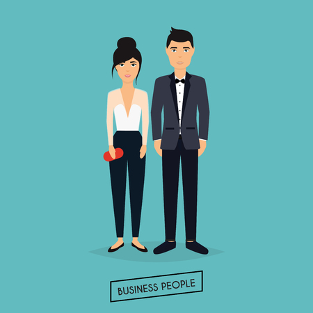 vida social: Business man and woman in flat design. The meeting, presentation, conference, social life. Vector illustration.