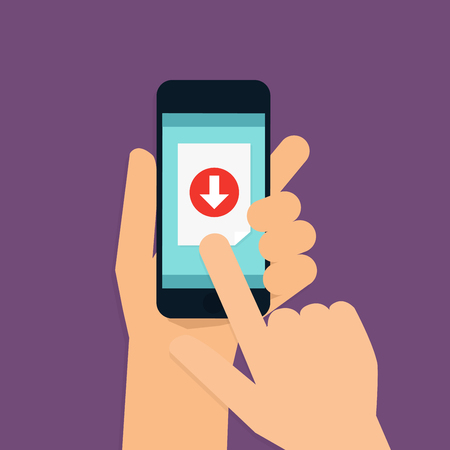 Hand holding mobile smart phone with download app. Vector modern flat creative info graphics design.