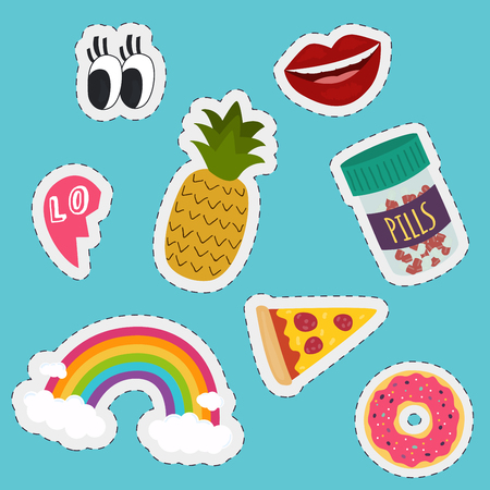lip: Stickers and handwritten notes collection. Fashion patch badges with donut, pineapple, pizza, tablets, lip, rainbow, eyes. Illustration