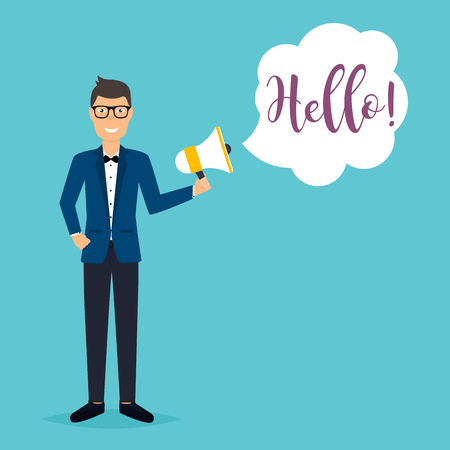 man illustration: Business man holding a megaphone with a message Hello!. Business flat vector illustration. Illustration