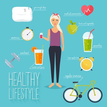 metrics: Concept of healthy lifestyle infographics. Young woman lead a healthy lifestyle. Icons for web: fitness, healthy food and metrics. Flat design vector illustration.