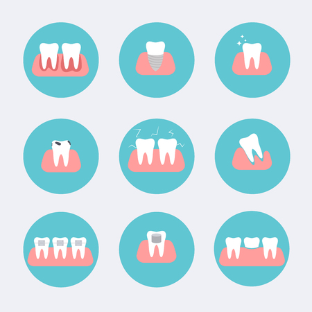 gingivitis: Types of dental clinic services. Stomatology and dental procedures flat icons. Toothcare vector illustration. Flat design style modern vector illustration concept.