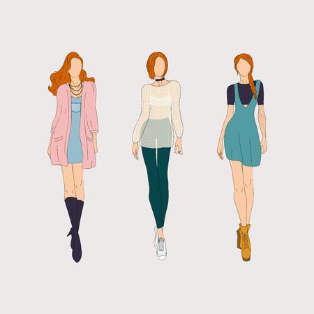 Hand drawn fashion models. Vector illustration.
