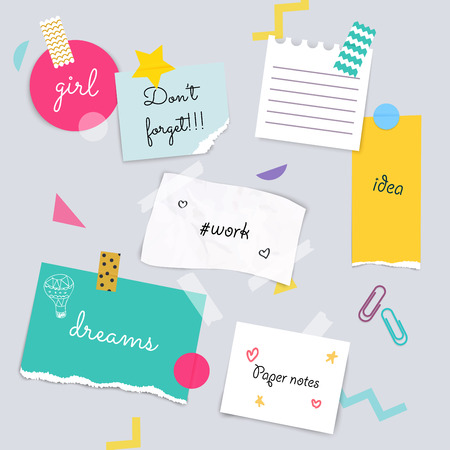 Stickers and note papers collection. Different scraps of paper stuck by sticky tape. Vector illustration. Illustration