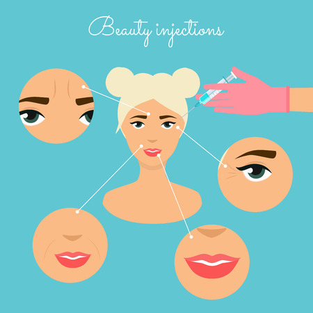 Beauty injections. Different types of injections Beauty. Micro plastic surgery concept. Female rejuvenation treatment infographics. Illustration