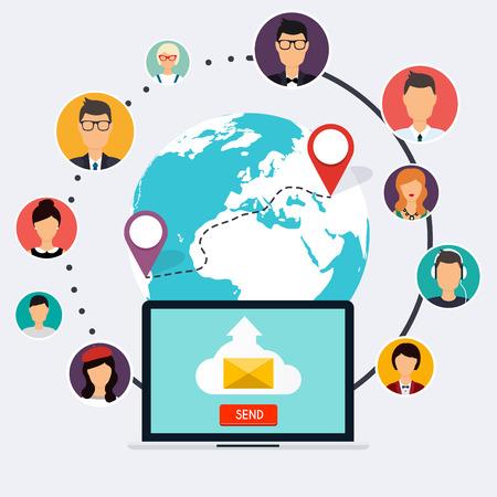 personas corriendo: campaña de correr, publicidad por correo electrónico, marketing digital directa. Conjunto de personas avatares e iconos. estilo de diseño moderno plano ilustración vectorial concepto. Vectores