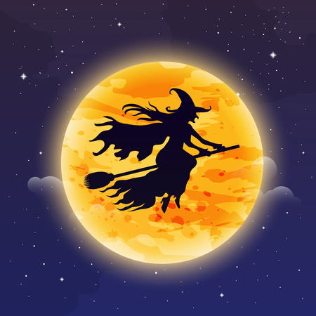 silhuette: Witch Flying on Broomstick. Halloween background. Witch silhuette flying in front of the moon. Illustration